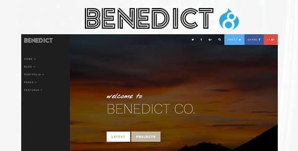 Benedict - Creative Side Navigation Blog/Portfolio Drupal Theme