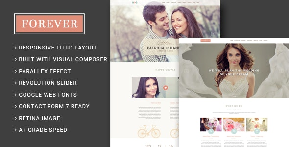 Forever - Wedding Couple & Planner/ Agency WordPress Theme - Wedding WordPress