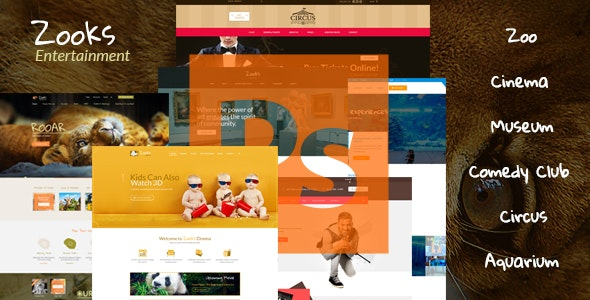 Zooks - Zoo, Cinema, Museum, Comedy Club, Circus & Aquarium PSD Template - Creative PSD Templates