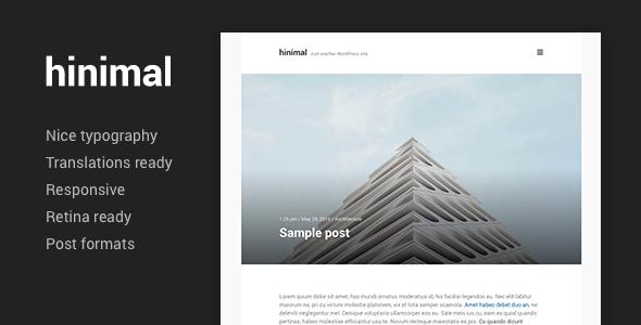 hinimal - Minimal Clean Blog Responsive WordPress Theme - Personal Blog / Magazine