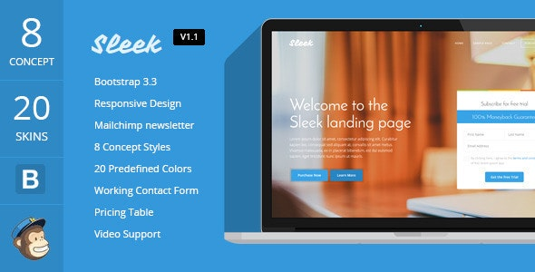 Sleek with Mobirise Responsive Bootstrap Landing Page Builder - Landing Pages Marketing
