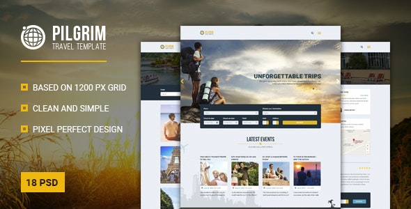 Pilgrim — Travel Agency PSD Template - Travel Retail