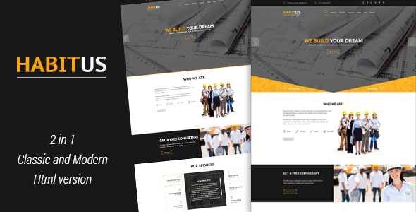 Habitus - 2 in 1 Construction HTML Responsive Template  - Business Corporate
