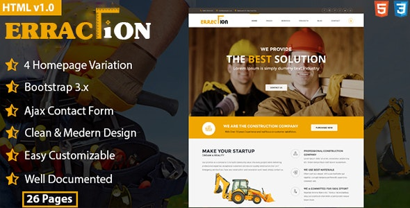 Erraction - Construction Business HTML5 Template  - Business Corporate