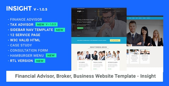 Financial Advisor, Consulting, Business Website Template - Insight - Business Corporate