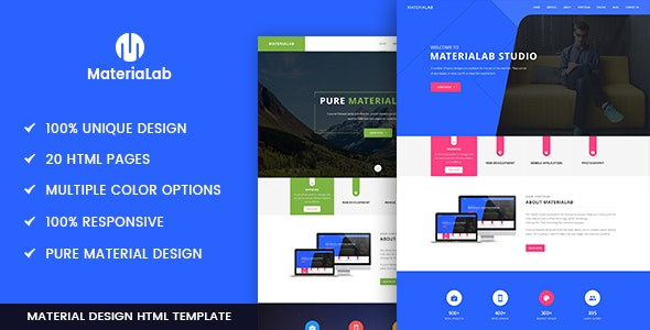 Materialab - Multi Concept Material HTML5 Template - Creative Site Templates