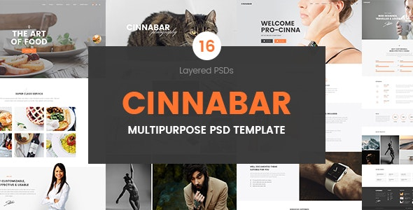 Cinnabar – Multipurpose PSD Template - Photoshop UI Templates