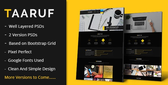 Taaruf Agency Portfolio Single and Multi Page PSD Template - Creative PSD Templates