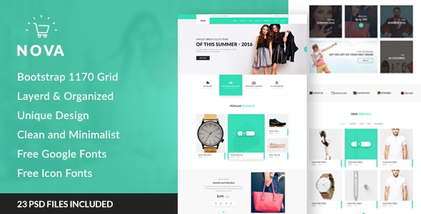 Nova - Fashion eCommerce PSD Template - Retail Photoshop
