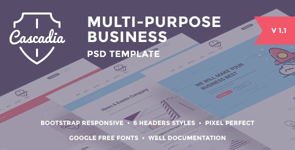 Cascadia - Multipurpose Business Agency/Personal Portfolio PSD Template - Business Corporate