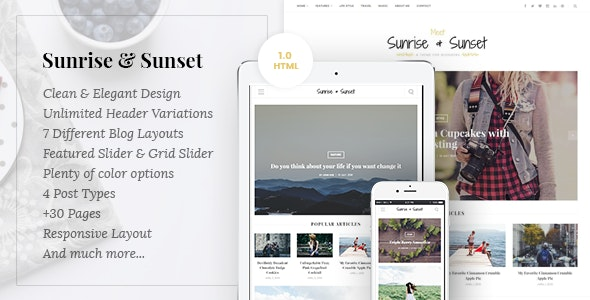 Sunrise & Sunset - Personal Blogging HTML5 Template - Personal Site Templates