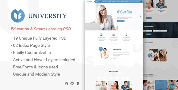 University - Education & Smart Learning Bootstrap PSD Template - Corporate Photoshop