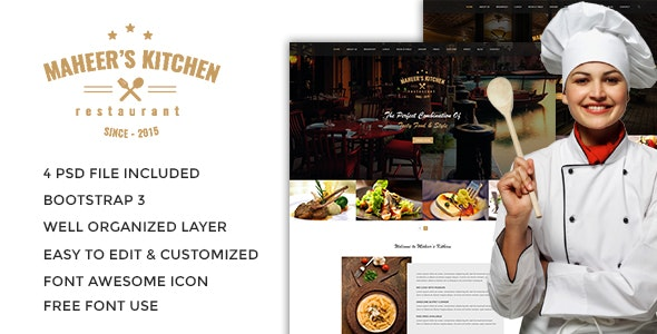 Maheer's Kitchen One Page Restaurant PSD Template - Restaurants & Cafes Entertainment