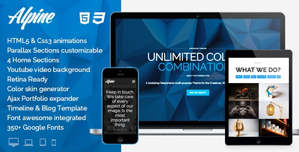 Alpine - WordPress Responsive One Page Parallax - Creative WordPress