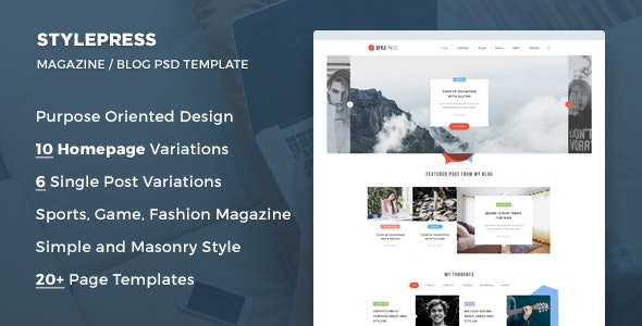 StylePress - Magazine and Blog PSD Template - Creative Photoshop