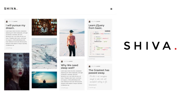 Shiva - Responsive Portfolio and Blog Ghost Theme - Ghost Themes Blogging