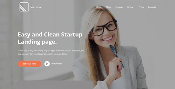 Vanessa -  Easy Startup Landing Page WP Theme - Marketing Corporate
