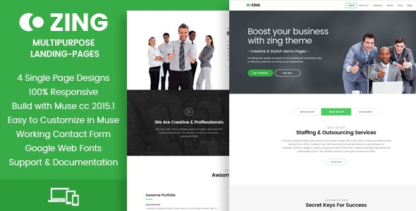 Zing - Muse Landing Pages - Landing Muse Templates