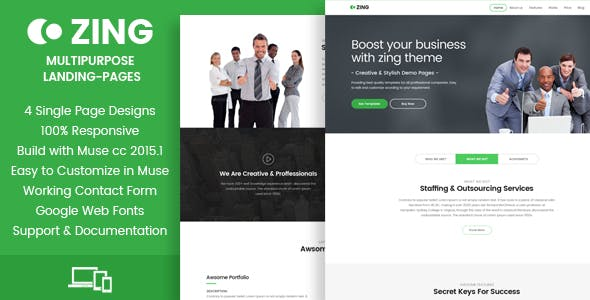 Zing - Muse Landing Pages