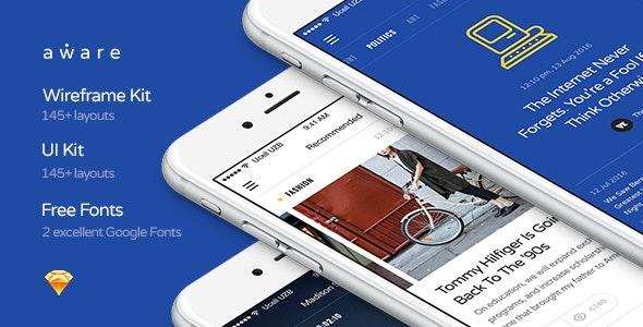 Aware Mobile UI/UX Kit - Sketch Templates