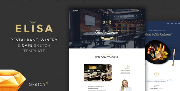 Elisa - Restaurant, Winery & Cafe Sketch Template - Sketch Templates