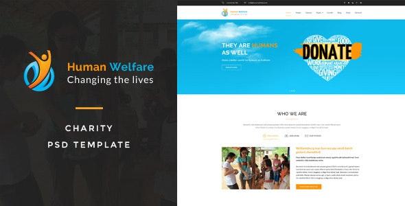 Human Welfare : Charity PSD Template - Charity Nonprofit