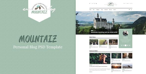 Mountaiz - Personal Blog PSD Template - Photoshop UI Templates