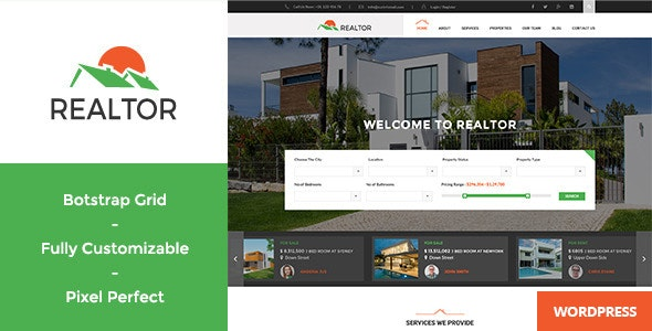 Realtor - Responsive Real Estate WordPress Theme - Real Estate WordPress