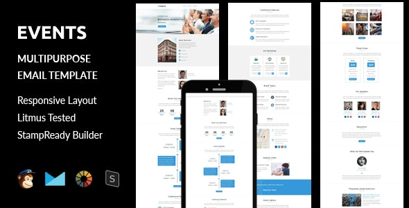 Events - Multipurpose Responsive Email Template + Stampready Builder - Email Templates Marketing