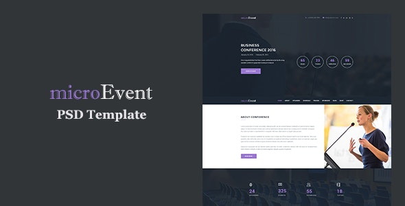 MicroEvent - Event Management & Conference Landing Page PSD Template - Events Entertainment