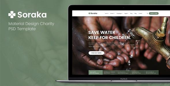 Soraka - Material Design Charity PSD Template - Charity Nonprofit