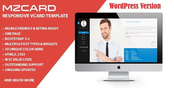 MilZinCard Resume / CV & Portfolio vCard WordPress Theme - Personal Blog / Magazine