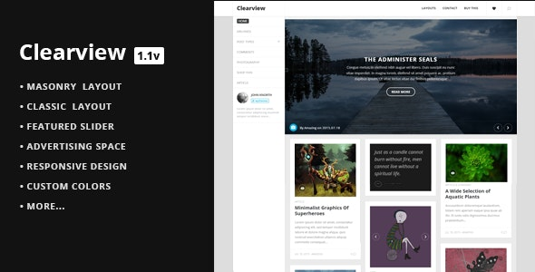 Clearview -  A Clean & Responsive Blog Theme - Personal Blog / Magazine