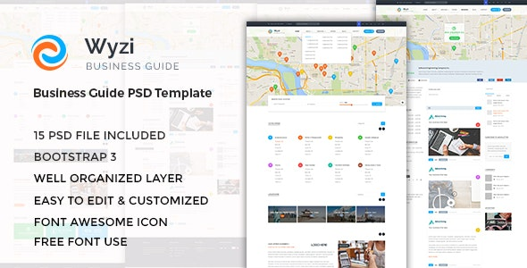 WYZI - Business Directory with Social Media Look PSD Template - Corporate PSD Templates