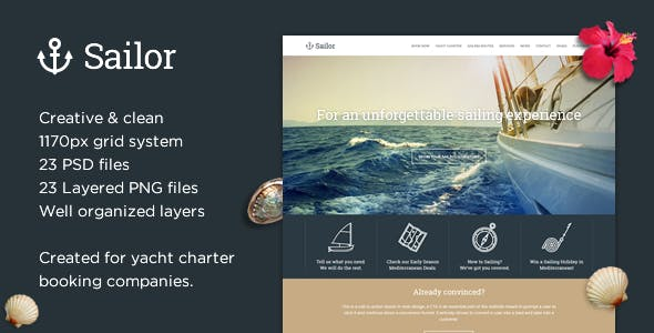 Sailor - Yacht Charter Booking PSD Template