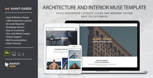 Avant-Garde - Architecture, Interior design and Furniture Muse Template - Corporate Muse Templates