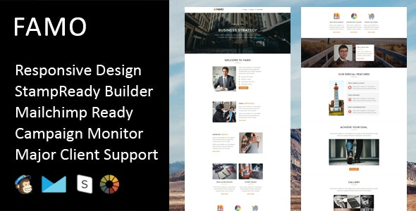 Famo - Multipurpose Responsive Email Template + Stampready Builder - Email Templates Marketing