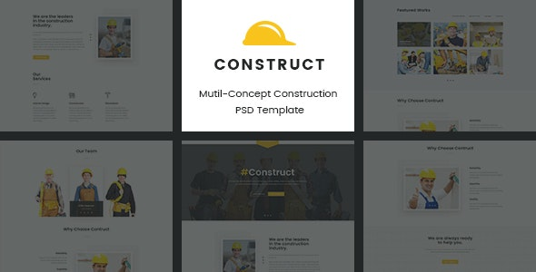 Construct | Mutil-Concept Construction PSD Template - Corporate Photoshop