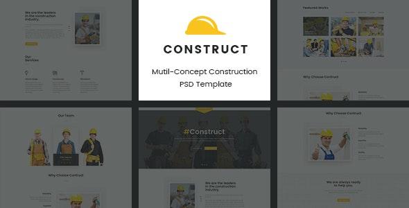Construct | Mutil-Concept Construction PSD Template - Corporate PSD Templates