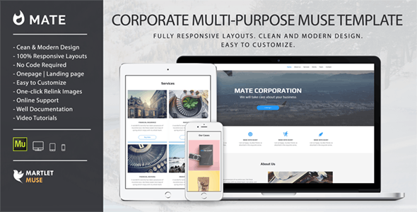 Mate - Corporate and Multipurpose Muse Template - Corporate Muse Templates