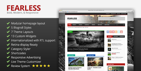 Fearless: Bold, Modern, & Responsive Multipurpose Magazine - News / Editorial Blog / Magazine
