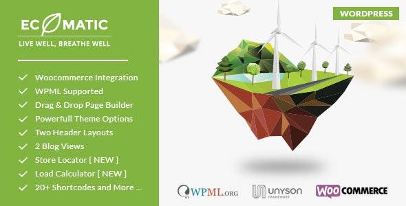 Ecomatic - Responsive WordPress Eco theme for Renewable Energy Businesses and Non Profit  - Environmental Nonprofit