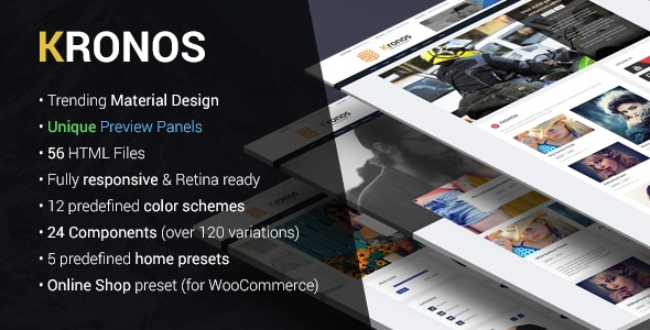 KRONOS | Responsive Magazine/Blog Material Design HTML Template - Miscellaneous Site Templates