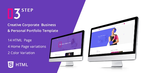 3 Step - Creative Corporate Business and Personal Portfolio Template - Portfolio Creative