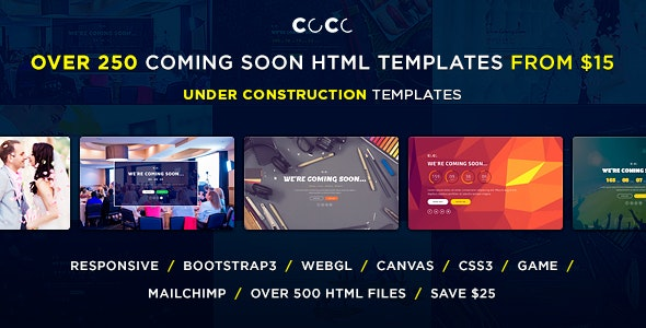 CoCo – 250 + Responsive HTML Multipurpose Under Construction Coming Soon Templates - Under Construction Specialty Pages