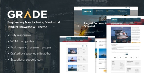 Grade - Engineering, Manufacturing & Industrial Product Showcase WP Theme - Corporate WordPress