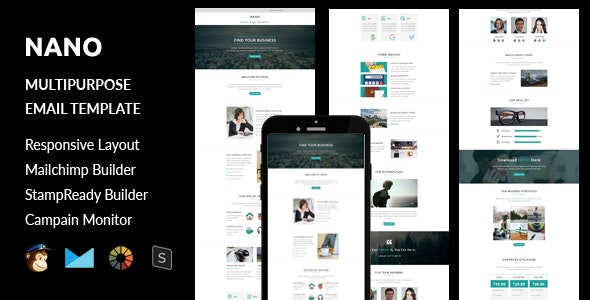 Nano - Multipurpose Responsive Email Template + Stampready Builder - Email Templates Marketing