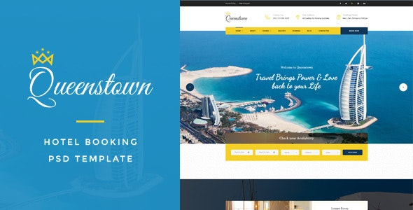 QueensTown : Hotel Booking PSD Template - Travel Retail