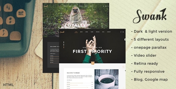 Swank - Creative One Page with Blog template - Creative Site Templates