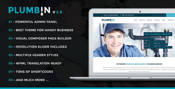 Plumbin - Plumbing and Construction WordPress Theme - Business Corporate